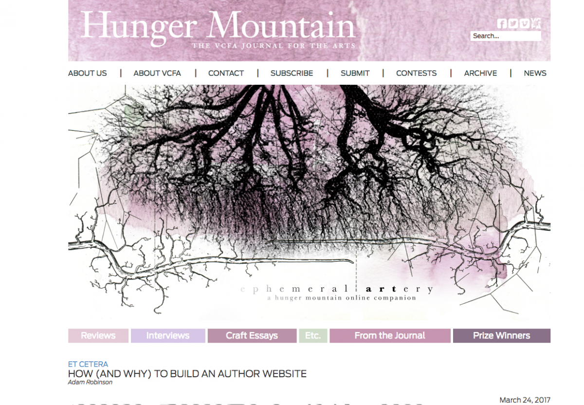 Some Thoughts on Author Websites at Hunger Mtn